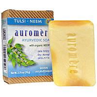 Auromere, Аюрведическое мыло, базилик священный и ним, 2,75 унции (78 г)