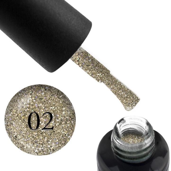 Гель-лак Oxxi (10 мл) Star gel №2 (светлое золото со слюдой и блестками)
