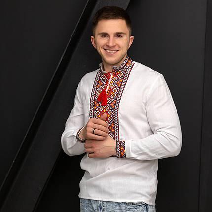 Чоловіча сорочка з червоною вишивкою Мирослав, фото 2