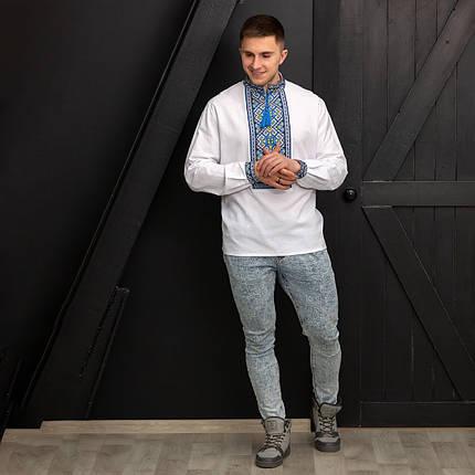 Мужская сорочка с синей вышивкой Назар, фото 2