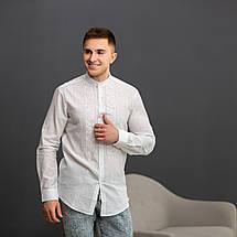 Мужская вышиванка белая с белой вышивкой, фото 3