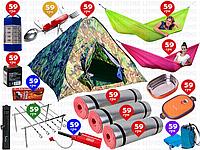14пр. Палатка Reking 4-х местная самораскладывающаяся (гамаки, карематы, фонарь, термос, мангал и д.р.)