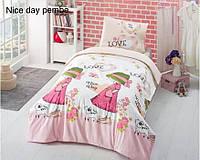 Полуторный комплект постельного белья Altinbasak Ранфорс Nice Day Pink