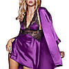 Атласный ночной комплект фиолетового цвета, фото 2
