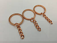 Плоское кольцо с цепочкой. Цвет красное золото. 25мм