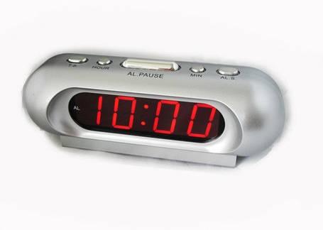 Часы сетевые 716-1 красные, фото 2