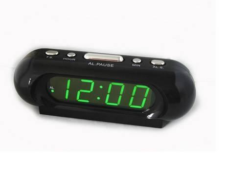 Часы сетевые 716-2 зеленые, фото 2