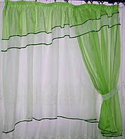 Кухонный комплект, тюль и шторка №18 Цвет салатовый с белым