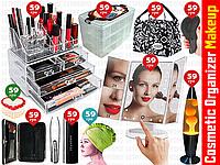 10пр. Зеркало для макияжа с подсветкой Mirror 22 LED в наборе (органайзер для косметики,сумка и д.р)