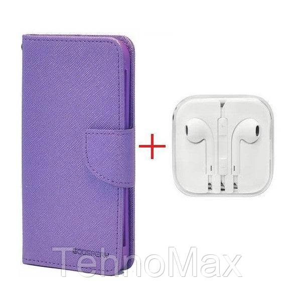 Чехол книжка Goospery для Samsung GALAXY S7 EDGE (CDMA) + наушники Apple iPhone (в комплекте). Подарок!!!