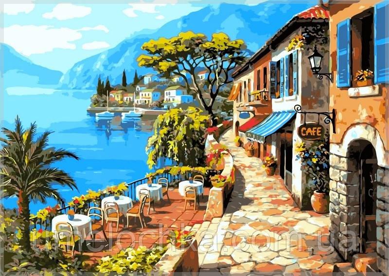 Картина по цифрам на холсте Babylon Кафе у моря