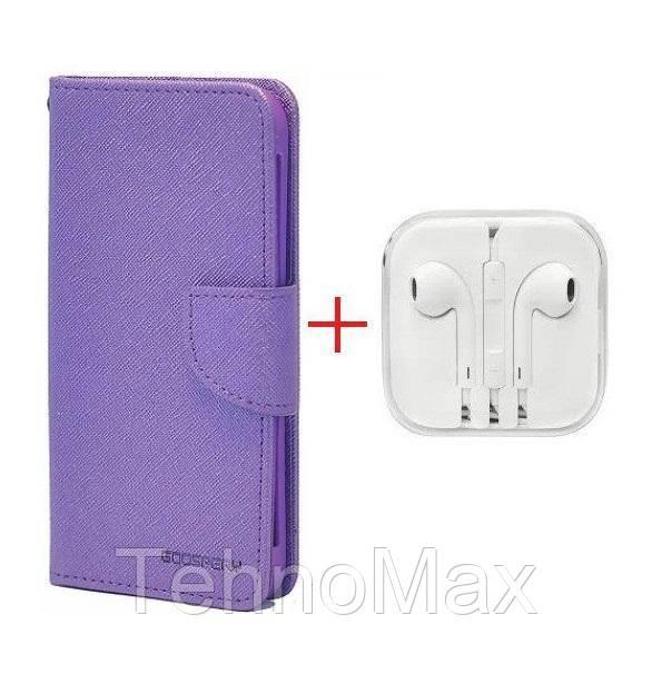 Чехол книжка Goospery для Asus ZENFONE V V520KL + наушники Apple iPhone (в комплекте). Подарок!!!