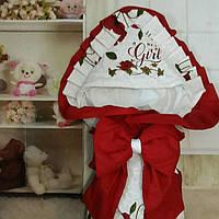 Красивый конверт на выписку  для девочек, с  рюшами и вышивкой, фото 1