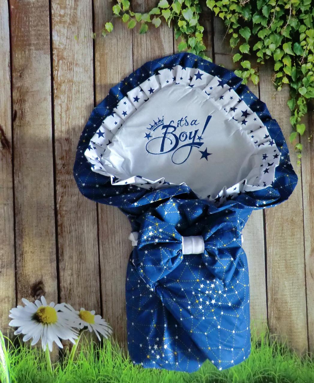 Конверт на выписку с вышивкой для новорожденных весна-лето-осень