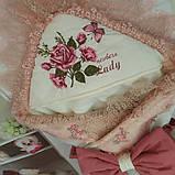 Конверт на выписку с вышивкой и кружевом для девочек, фото 7
