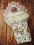 Конверт на выписку с вышивкой и кружевом для девочек, фото 4