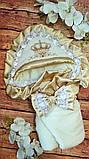Красивый  велюровый конверт на выписку с итальянским кружевом, вышивкой и рюшами, фото 3