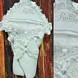 Красивый  велюровый конверт на выписку с итальянским кружевом, вышивкой и рюшами, фото 5