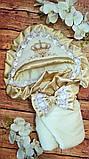 Серый  велюровый конверт на выписку с итальянским кружевом, вышивкой и рюшами Корона, фото 4