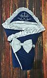 Серый  велюровый конверт на выписку с итальянским кружевом, вышивкой и рюшами Корона, фото 8