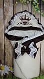 Велюровый конверт на выписку с итальянским кружевом, вышивкой и рюшами Корона для девочек, фото 10