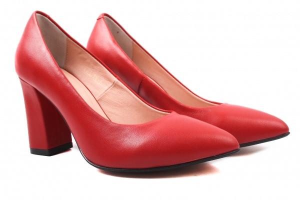 Туфли женские на каблуке из натуральной кожи, красные Angels
