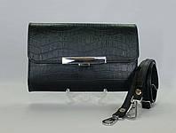 Оригинальный  женский черный  клатч ручной работы из натуральной кожи с принтом крокодил