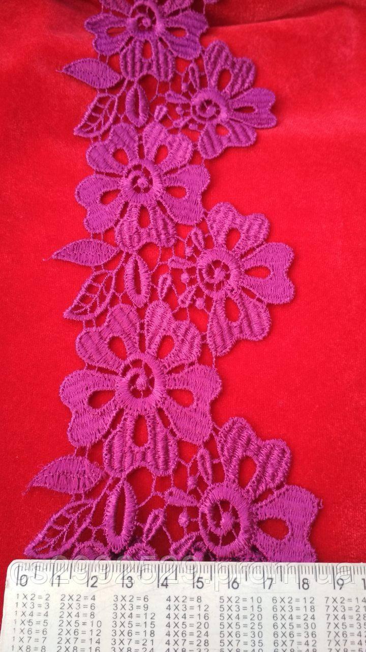 Кружево цветы 20м. Кружево фуксия