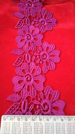 Кружево цветы 20м. Кружево фуксия, фото 2