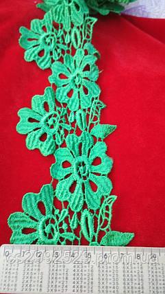 Кружево цветы 20 м. Кружево зелёный, фото 2
