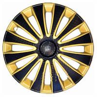 Колпаки на колеса R13 черные + желтый + карбон, Star GMK Super Sport (5481) - комплект (4 шт.)