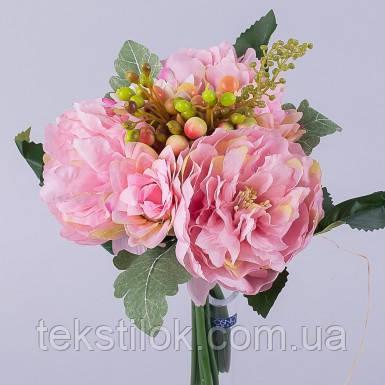 Букет Пионов далия и ягоды розовый 29 см Цветы искусственные
