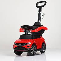 Детская машина толокар трансформер 3 в 1 с родительской ручкой Volkswagen 651-3 красный