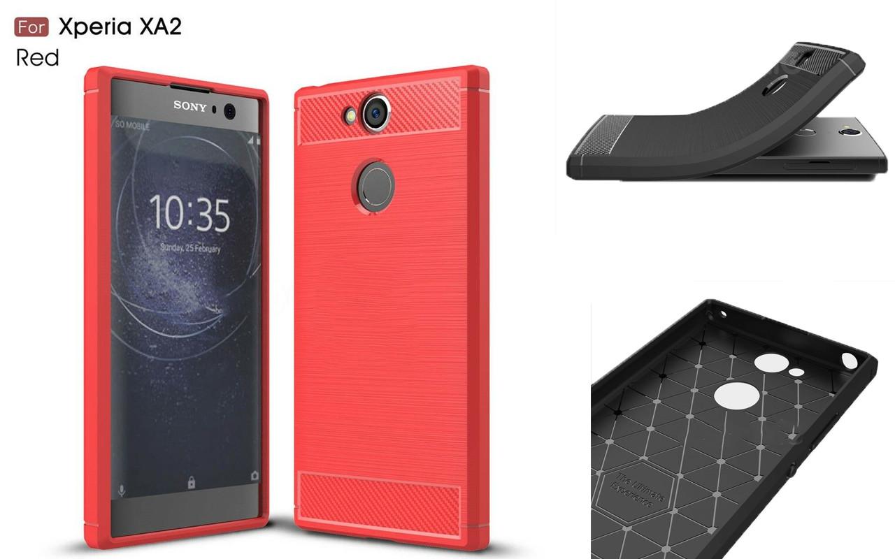 Бампер для Sony Xperia XA2 - Red - Carbon Cover