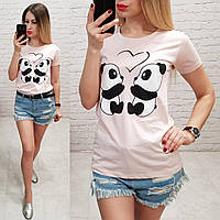 Женская футболка летняя рисунок пандочки 100% катон качество турция цвет пудра, фото 1