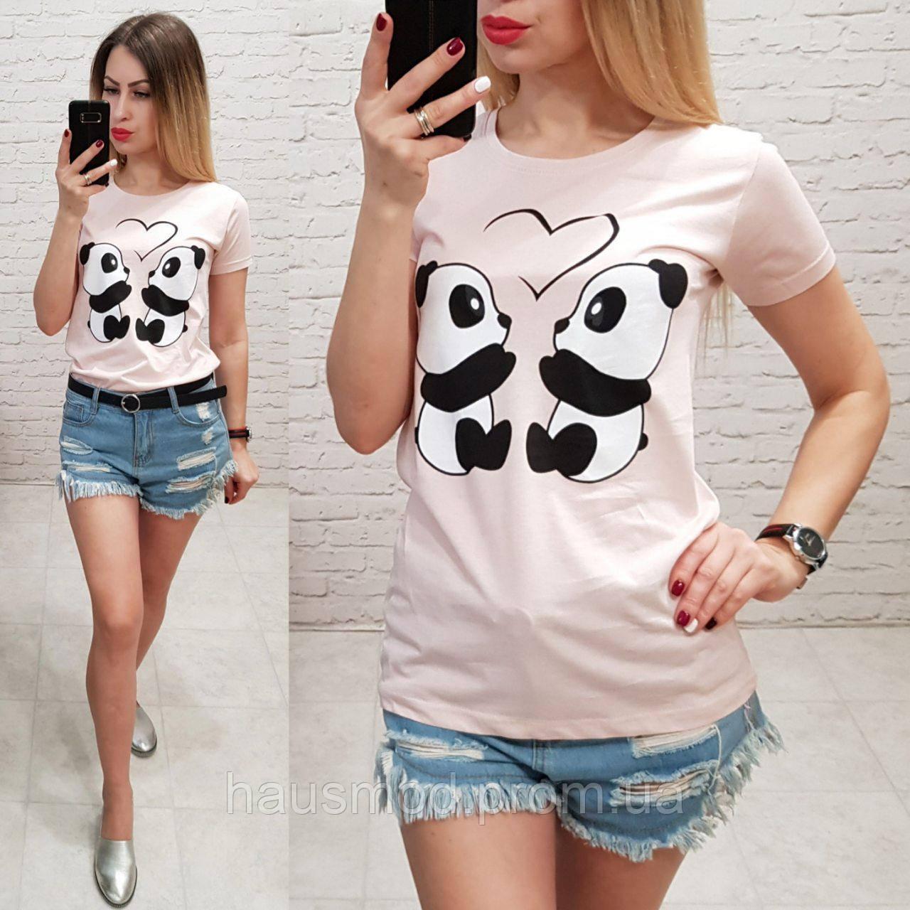 Женская футболка летняя рисунок пандочки 100% катон качество турция цвет пудра