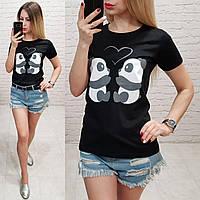 Женская футболка летняя рисунок пандочки 100% катон качество турция цвет черный, фото 1