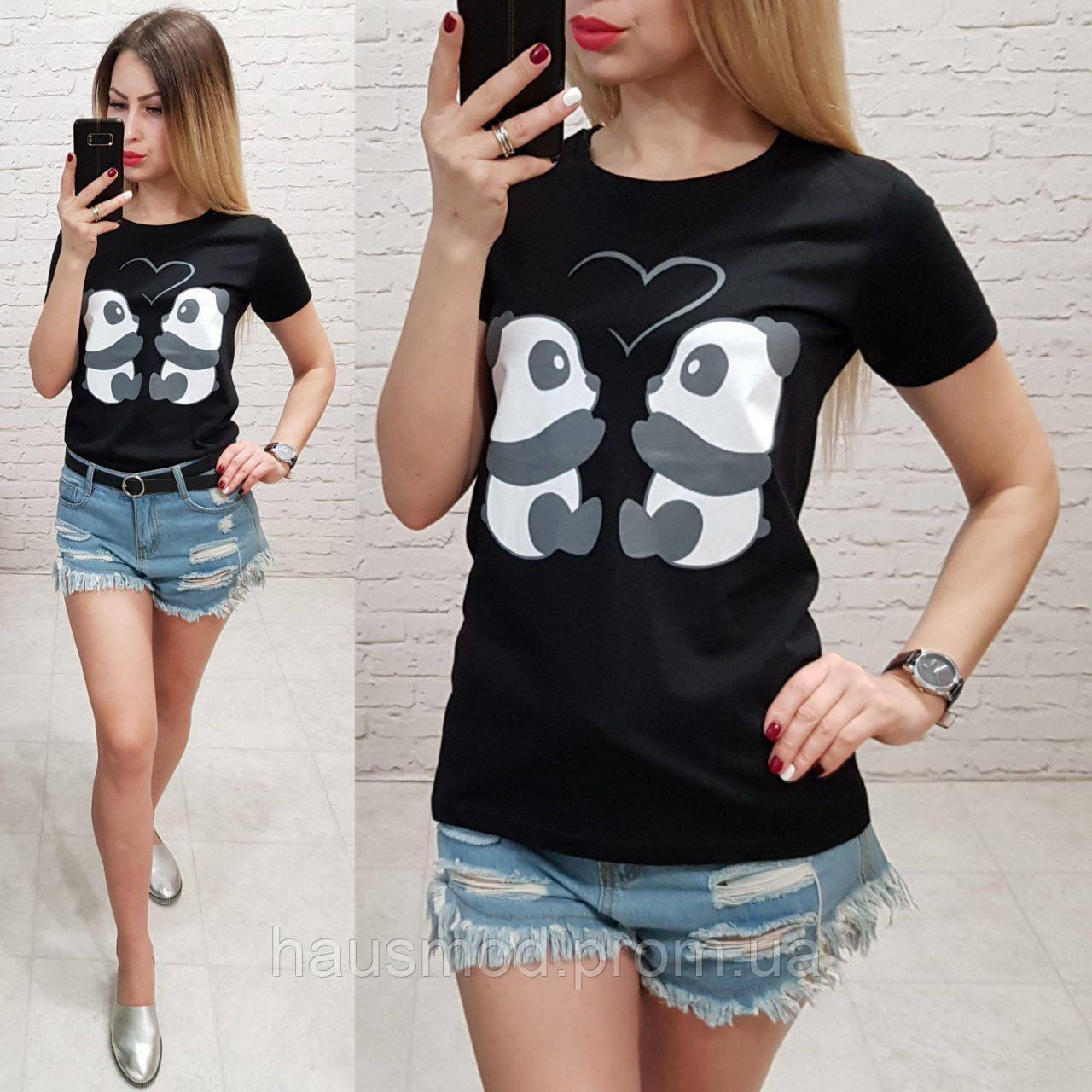 Женская футболка летняя рисунок пандочки 100% катон качество турция цвет черный