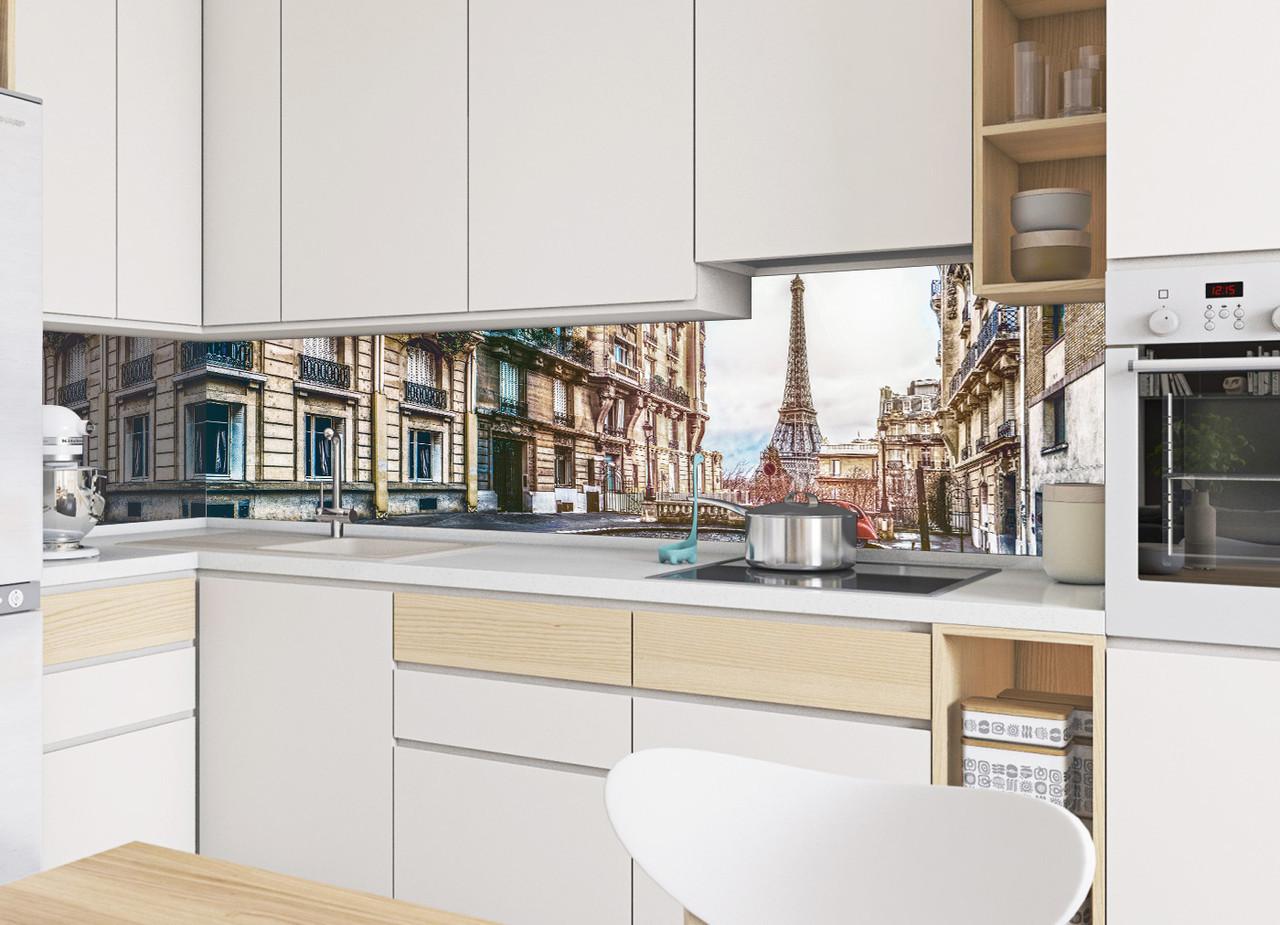 Кухонный фартук Париж, (фотопечать скинали, пленка для стеновых панелей, Франция, Эйфелева башня)600*2500 мм