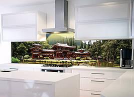 Кухонный фартук Япония фотопечать скинали пленка для стеновых панелей восточный дом у озера 600*2500 мм