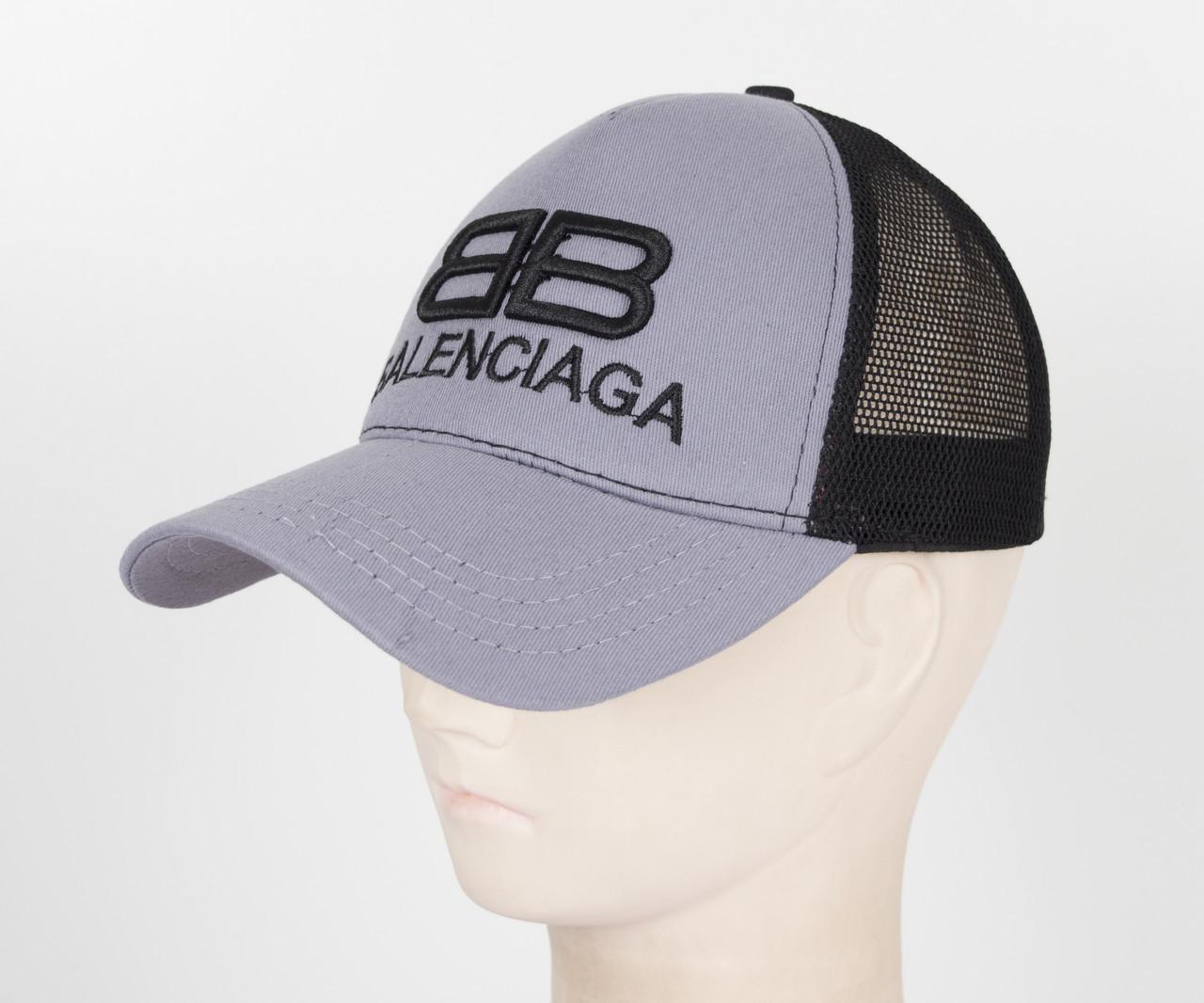 Бейсболка вышивка сетка B1901 Серый