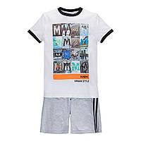 Комплект для мальчика летний  MEK 191MHEM001-001 серый с белым  170