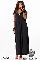 Свободное платье трапеция макси длины с прозрачными рукавами с 48 по 62 размер, фото 2