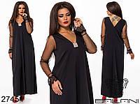 Свободное платье трапеция макси длины с прозрачными рукавами с 48 по 62 размер, фото 1