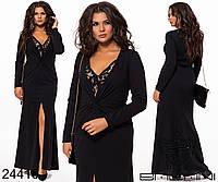 Черное вечернее платье с драпировкой и кружевом с 48 по 54 размер, фото 1