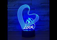 3D светильник (Love) любовь