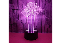 3D светильник ( 3 Розы)