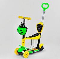 Детский самокат беговел Best Scooter 11844 с принтом 5в1, свет платформы