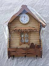 Ключниця Вішалка-будиночок з годинником, фото 3