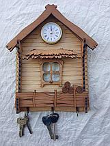 Ключниця Вішалка-будиночок з годинником, фото 2